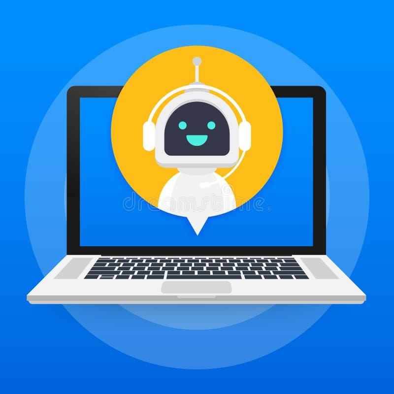 Bot de causerie utilisant l'ordinateur portable, aide virtuelle de robot de site Web ou applications mobiles Bot de service de su illustration de vecteur