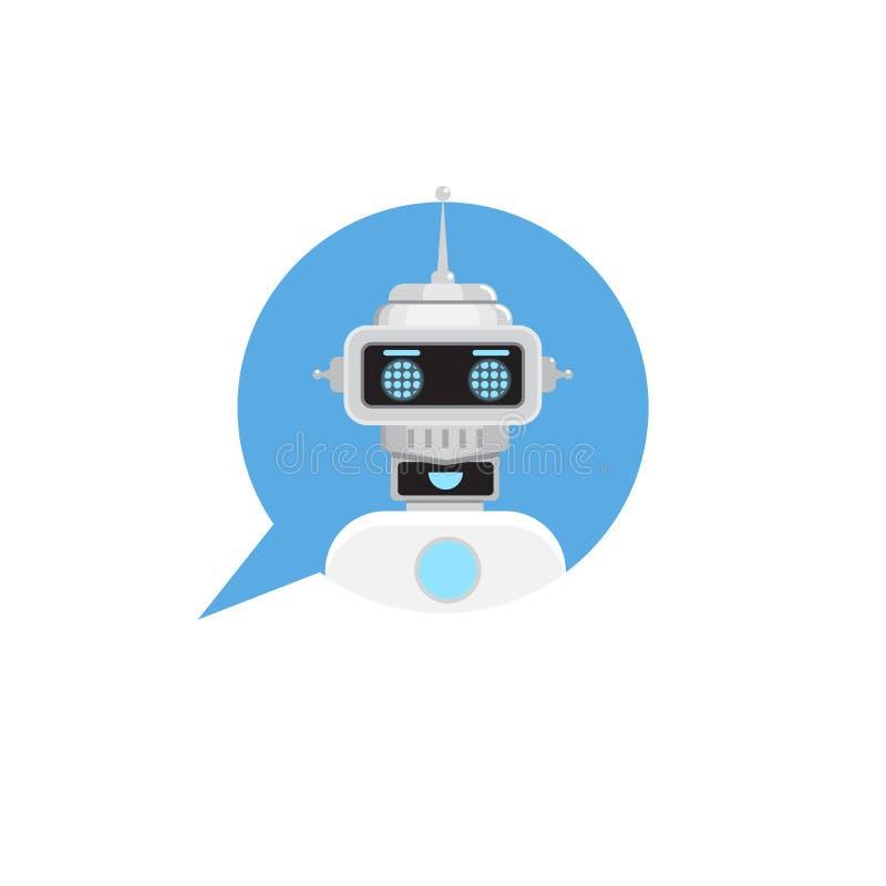 Bot de la charla en burbuja del discurso Icono del robot del servicio de asistencia Ilustración del vector ilustración del vector