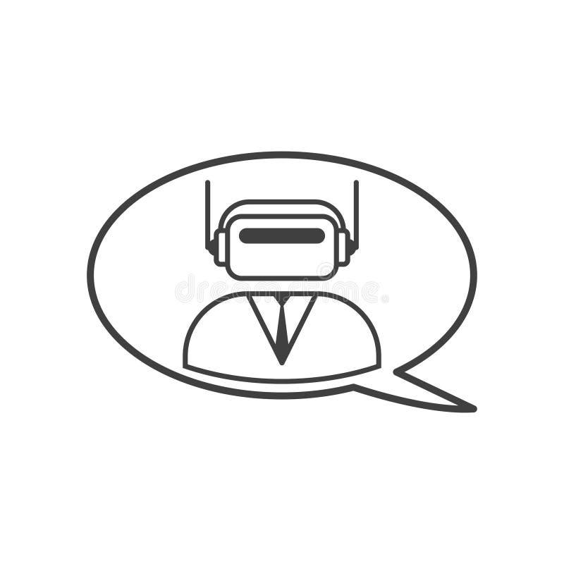 Bot di chiacchierata dell'icona in un vestito Consultazione online Vettore su fondo bianco Facile pubblicare le icone di colore illustrazione vettoriale