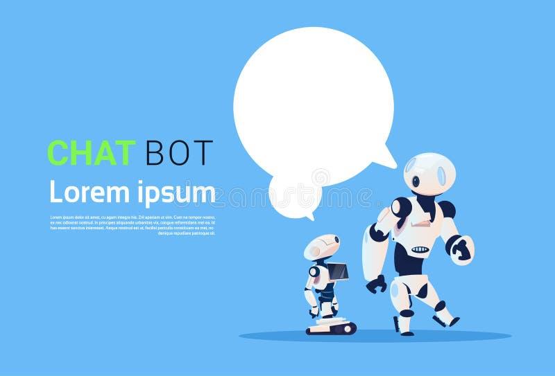 Bot di chiacchierata, elemento virtuale di assistenza dei robot del sito Web o applicazioni del cellulare, concetto di intelligen illustrazione di stock