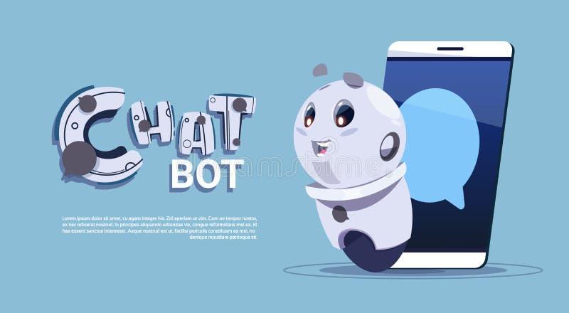 Bot di chiacchierata nell'insegna sveglia del modello del robot dello Smart Phone con lo spazio della copia, lo schiamazzo o il s illustrazione vettoriale
