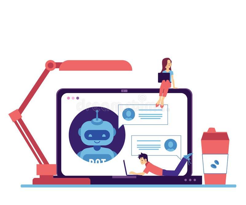 Bot di chiacchierata di vettore nell'uomo della donna del computer portatile indipendente illustrazione vettoriale