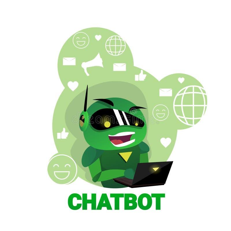 Bot di schiamazzo dell'icona di Chatbot facendo uso del concetto moderno di tecnologia di sostegno del robot di Digital del compu royalty illustrazione gratis