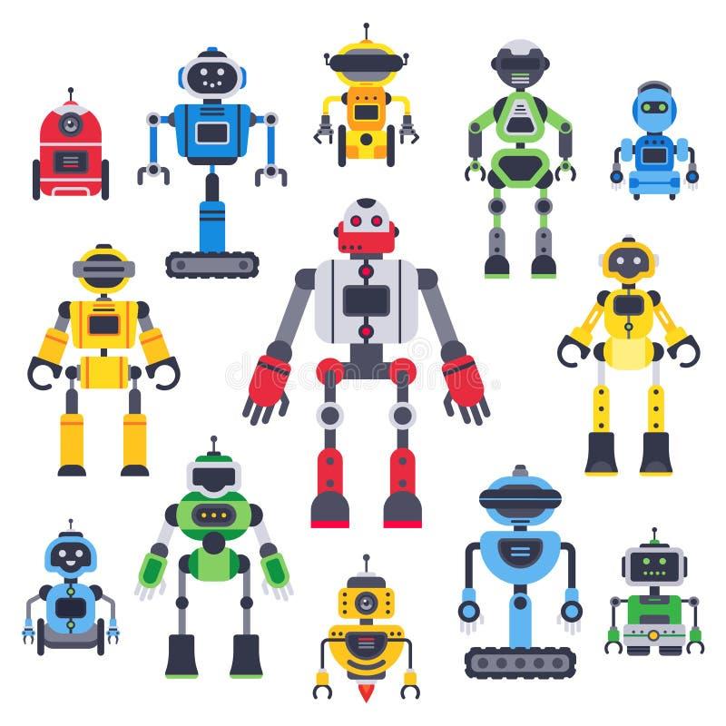 Bot e robôs lisos Mascote robótico do bot, robô do humanoid e caráteres lisos do vetor assistente bonito do chatbot ajustados ilustração do vetor