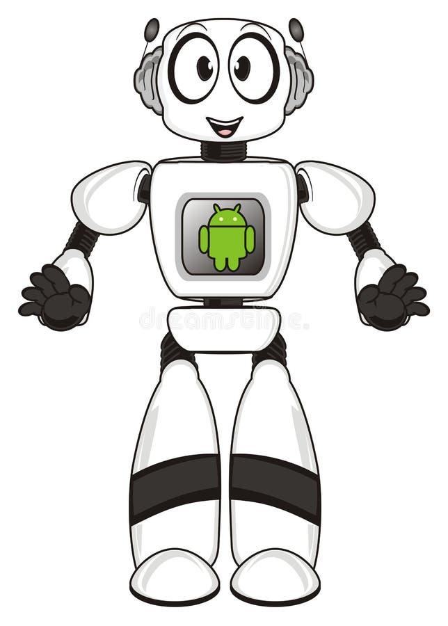 Bot en groen teken van androïde stock illustratie