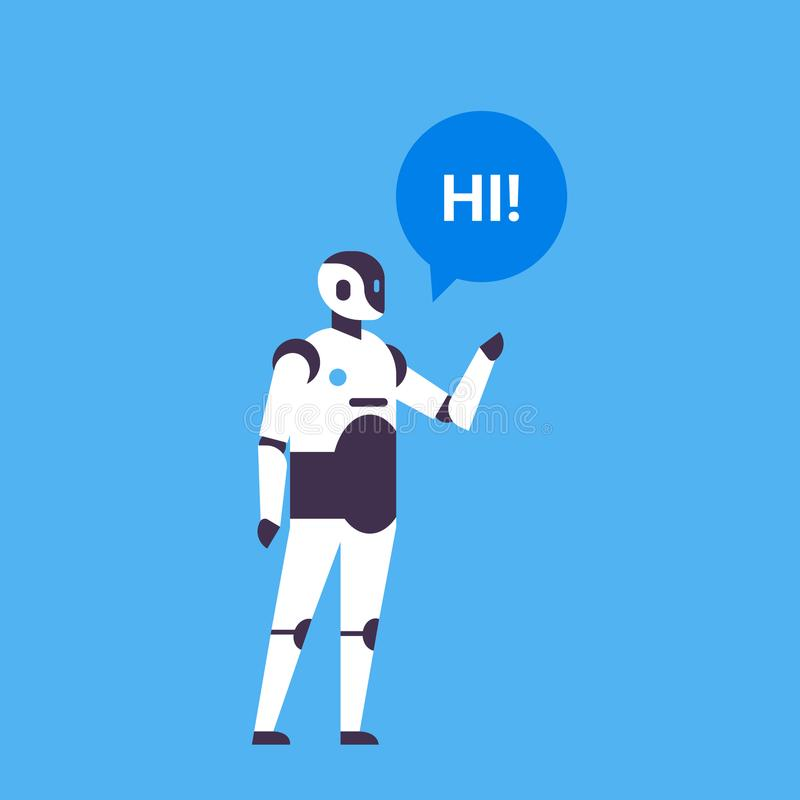 Bot helper chatbot personal assistant chat bubble communication robot character artificial intelligence concept blue vector illustration
