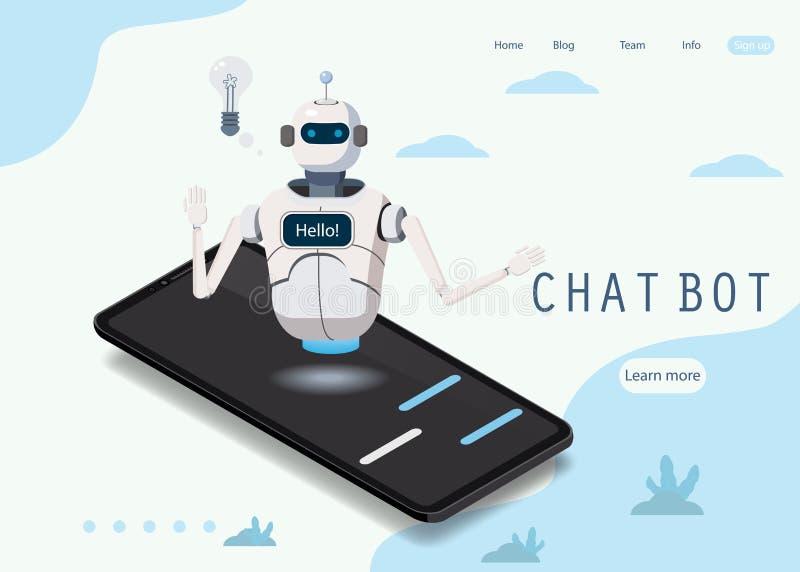Bot isométrique de causerie de la Science, concept de smartphone L'intelligence artificielle, intelligence d'expertise de la conn illustration stock