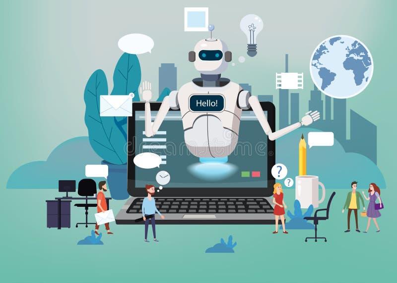 Bot libero online di chiacchierata di concetto, assistenza virtuale del robot, supporto tecnico globale online 24-7 Pagina Web di illustrazione di stock