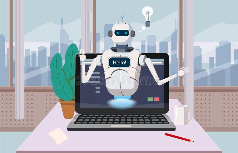 Bot libre de causerie, aide virtuelle de robot sur l'élément de parole d'ordinateur portable bonjour du site Web ou applications  illustration stock