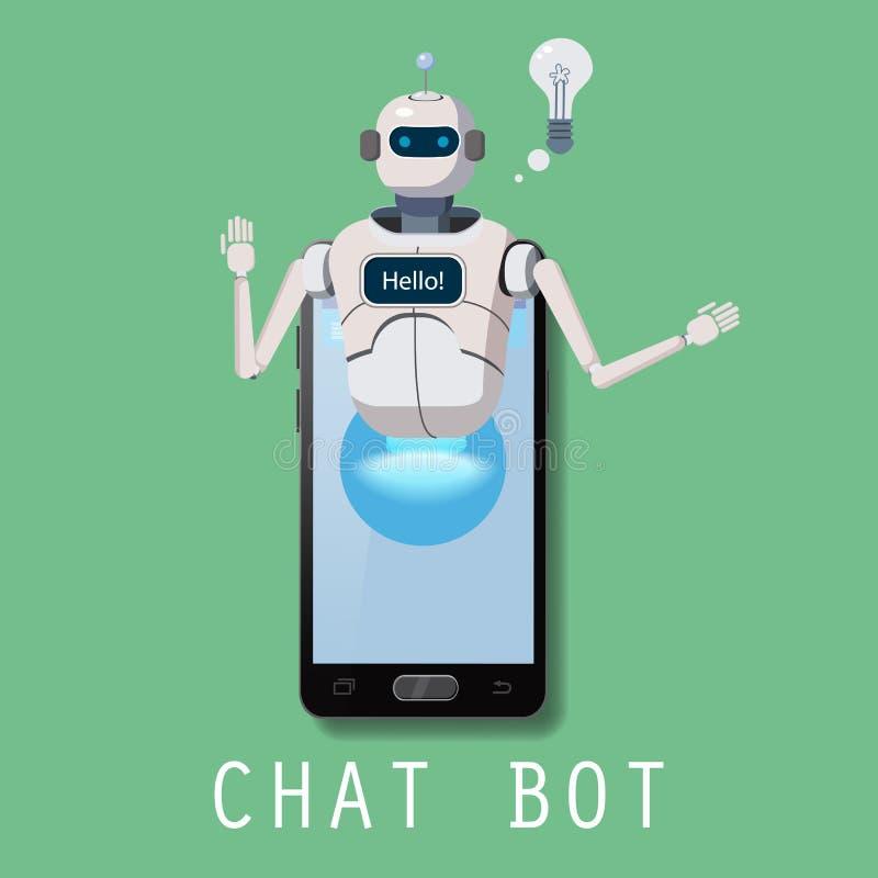 Bot libre de causerie, l'aide virtuelle de robot sur Smartphone indiquent bonjour l'élément du site Web ou des applications mobil illustration libre de droits