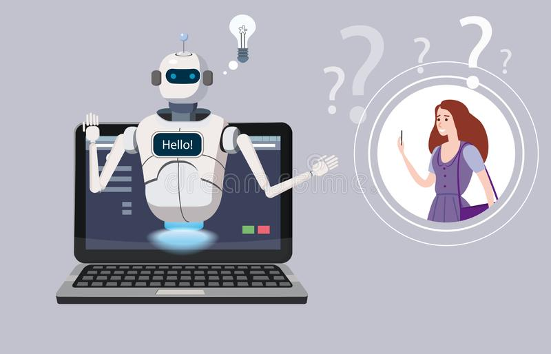 Bot libre de la charla, ayuda virtual del robot en el elemento de la opinión del ordenador portátil hola de la página web o aplic ilustración del vector