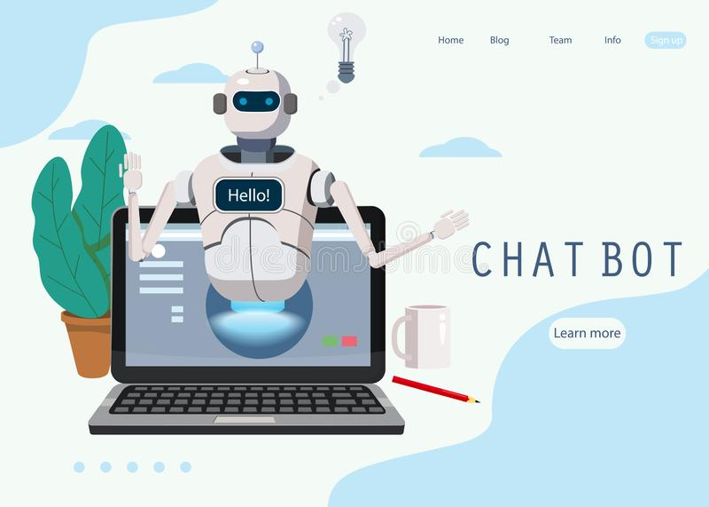 Bot libre de la charla, ayuda virtual del robot en el elemento de la página web del concepto de la opinión del ordenador portátil ilustración del vector