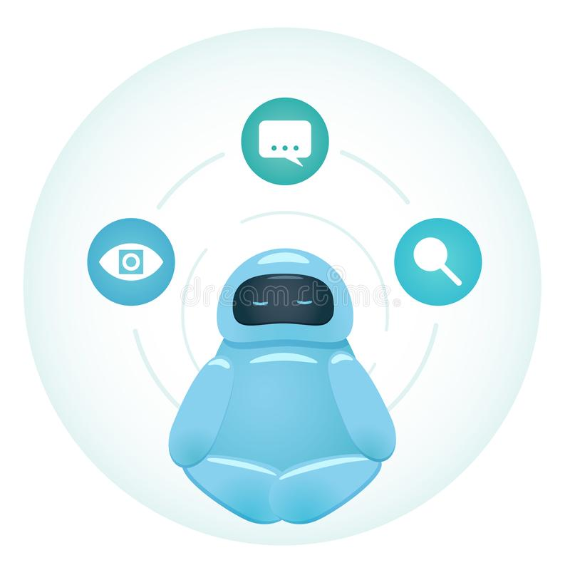Bot meditating with cognitive services. Cute character bot sitting in the circle and meditating. Artificial intelligence design concept that illustrate machine stock illustration