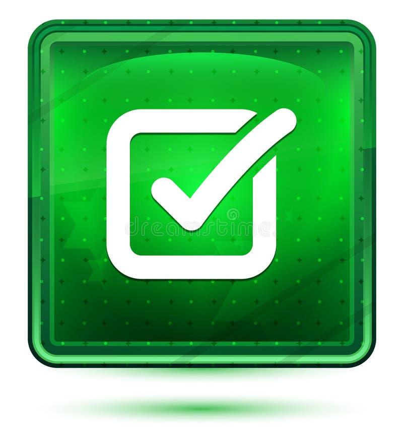 Bot?n cuadrado verde claro de ne?n del icono de la caja de control libre illustration