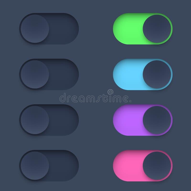 Bot?n de interruptor del color en modo por intervalos stock de ilustración