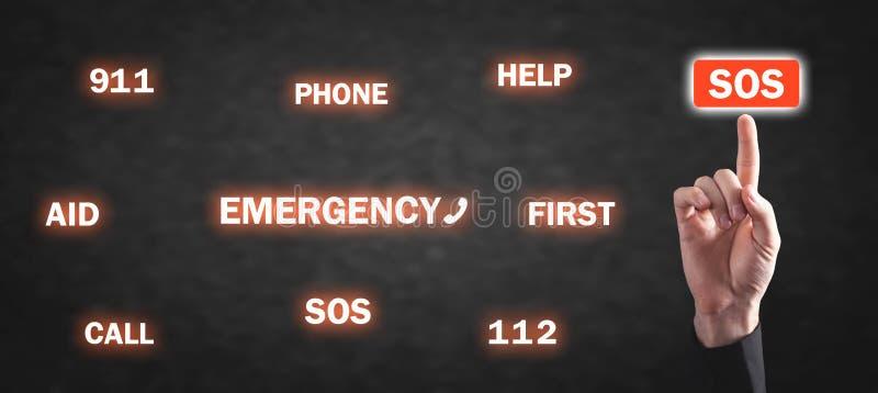 Bot?n del presionado a mano SOS Emergencia, llamada, ayuda foto de archivo libre de regalías