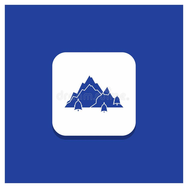 Bot?n redondo azul para la monta?a, paisaje, colina, naturaleza, icono del Glyph del ?rbol libre illustration