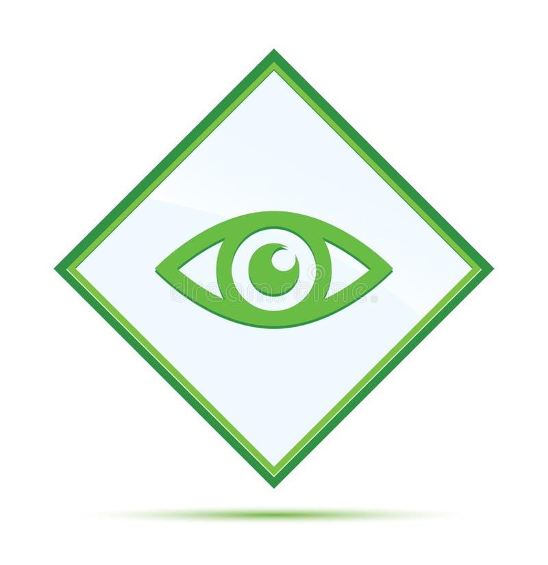 Bot?n verde abstracto moderno del diamante del icono del ojo stock de ilustración