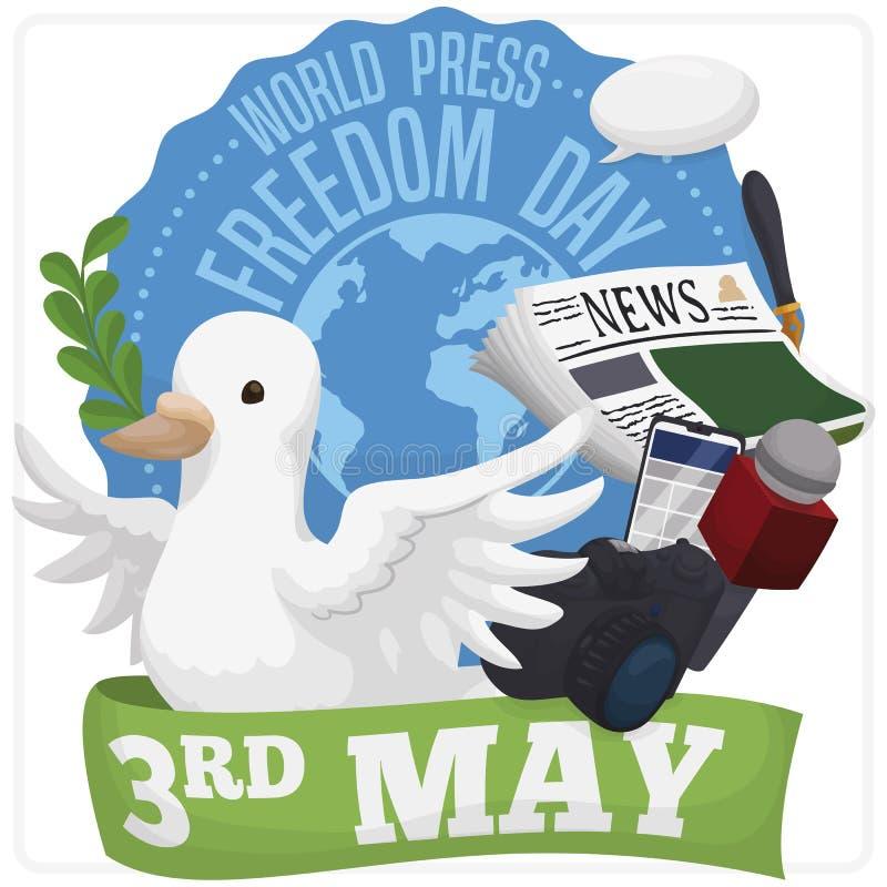 Bot?o com pomba e elementos para o dia da liberdade de imprensa do mundo, ilustra??o do vetor ilustração royalty free