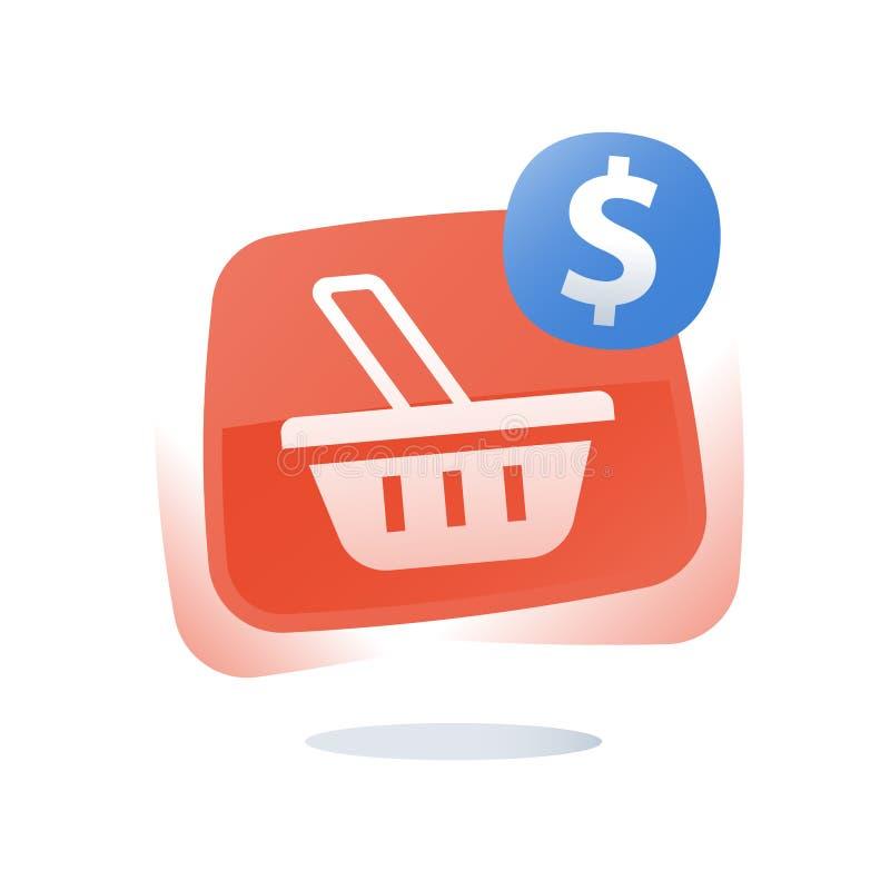 Bot?o de compra em linha, cesta da loja, carro abandonado, mercado e promo??o, oferta limitada, programa da lealdade, melhoria da ilustração stock