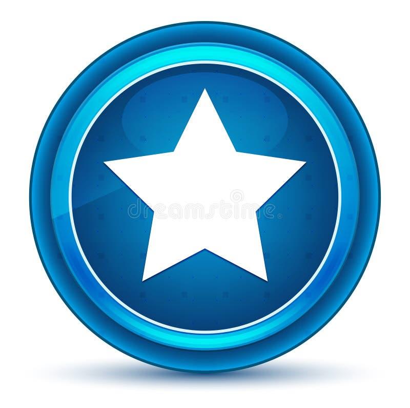 Bot?o redondo azul do globo ocular do ?cone da estrela ilustração stock