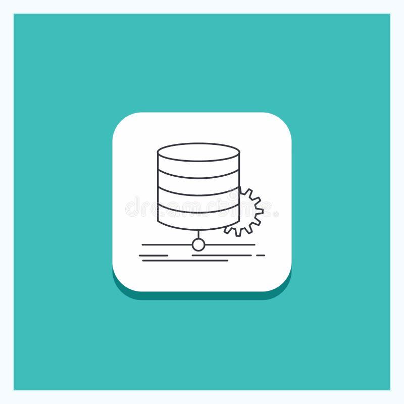 Bot?o redondo para o algoritmo, carta, dados, diagrama, linha de fluxo fundo de turquesa do ?cone ilustração stock