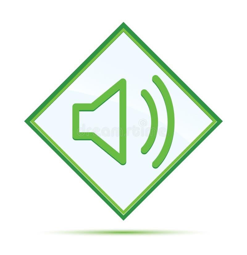 Bot?o verde abstrato moderno do diamante do ?cone do orador do volume ilustração stock