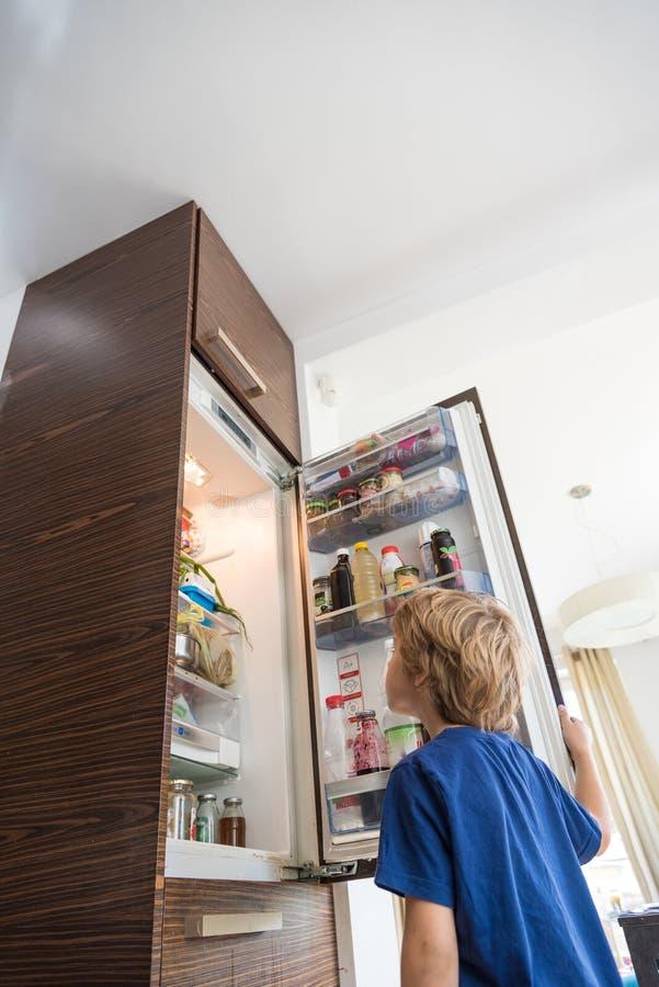 Bot que olha o refrigerador fotografia de stock