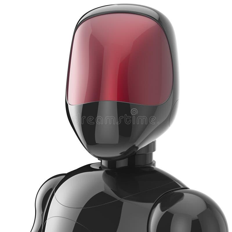 Bot van de Cyborg zwarte robot androïde futuristische karakteravatar stock illustratie