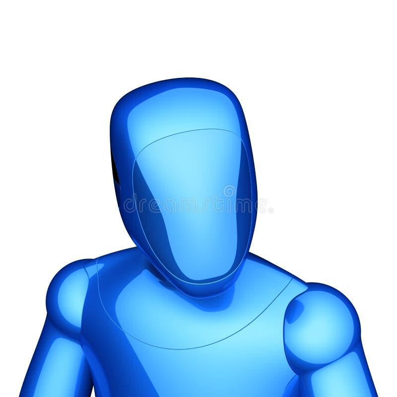 Bot van robot futuristisch blauw cyborg androïde poppenstuk speelgoed karakter royalty-vrije illustratie