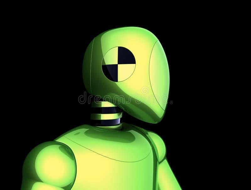 Bot van robot futuristisch groen cyborg androïde karakter op zwarte vector illustratie