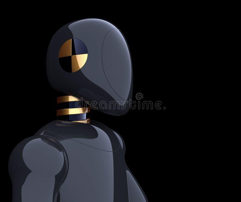 Bot van robot het futuristische zwarte cyborg androïde model van de verbrijzelingstest stock illustratie