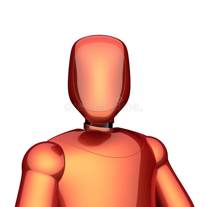 Bot van robot oranjerood futuristisch cyborg androïde karakterconcept vector illustratie