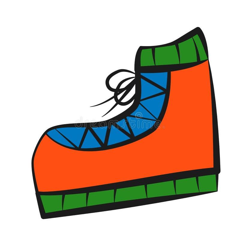 Bota, ícone, estilo do desenho do ` s das crianças ilustração royalty free