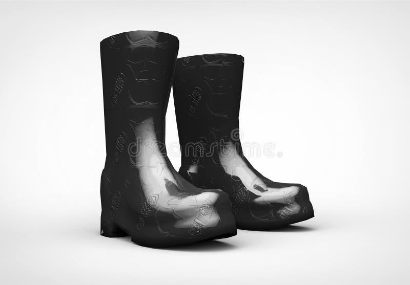 Bota preta rendição 3d isolada imagens de stock royalty free