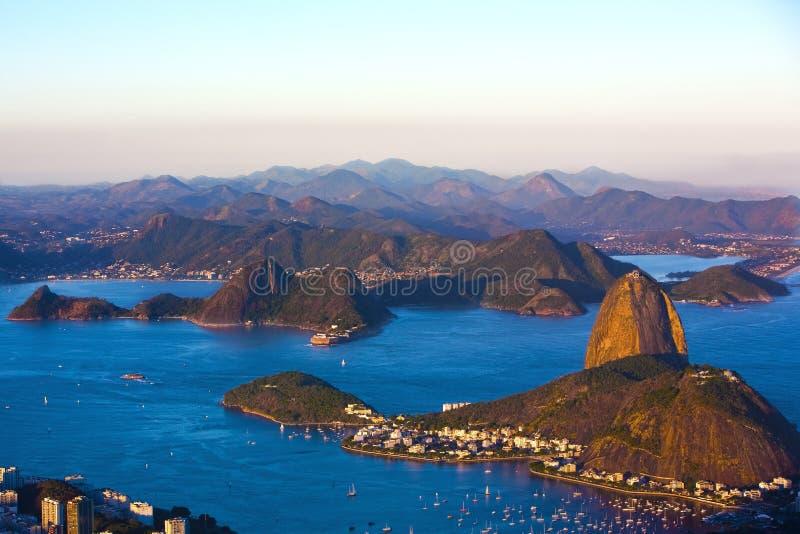 Botafogo e la montagna della pagnotta di zucchero fotografia stock