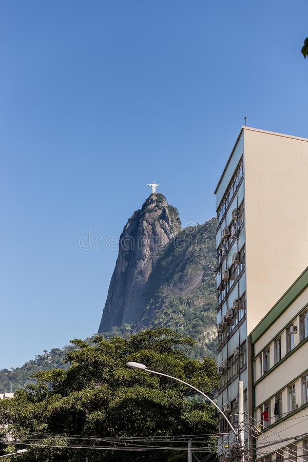 Botafogo scene with Christ the reddemer in the background. Botafogo, Rio de Janeiro stock photos