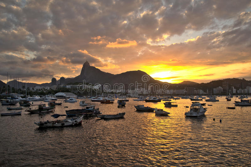 Botafogo solnedgång arkivbild