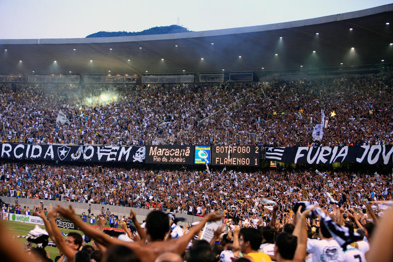 Botafogo supporters maracana stadium Rio de. Rio de Janeiro, Brazil - September 13, 2007: Botafogo supporters at the soccer rio state championship 2007 final royalty free stock photo
