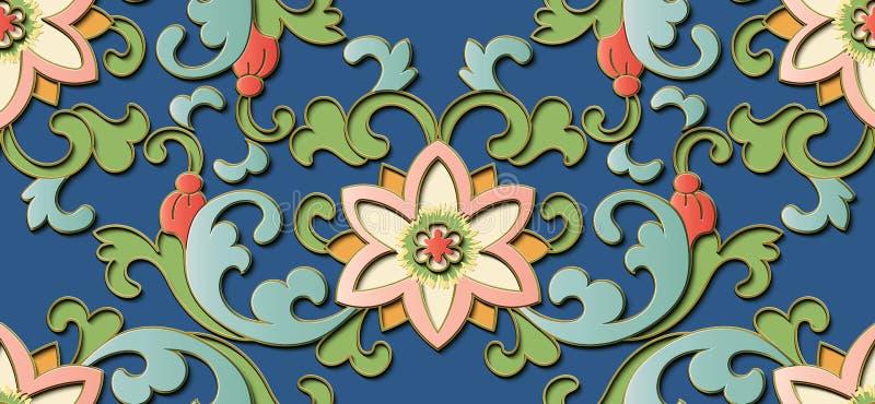Botan chino del alivio de la escultura del modelo retro inconsútil de la decoración stock de ilustración