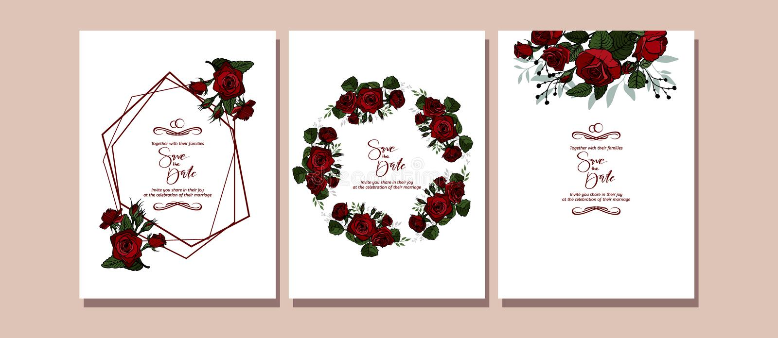 Botanic card with roses flowers, leaves. Spring ornament concept. Floral poster, invite. vector illustration