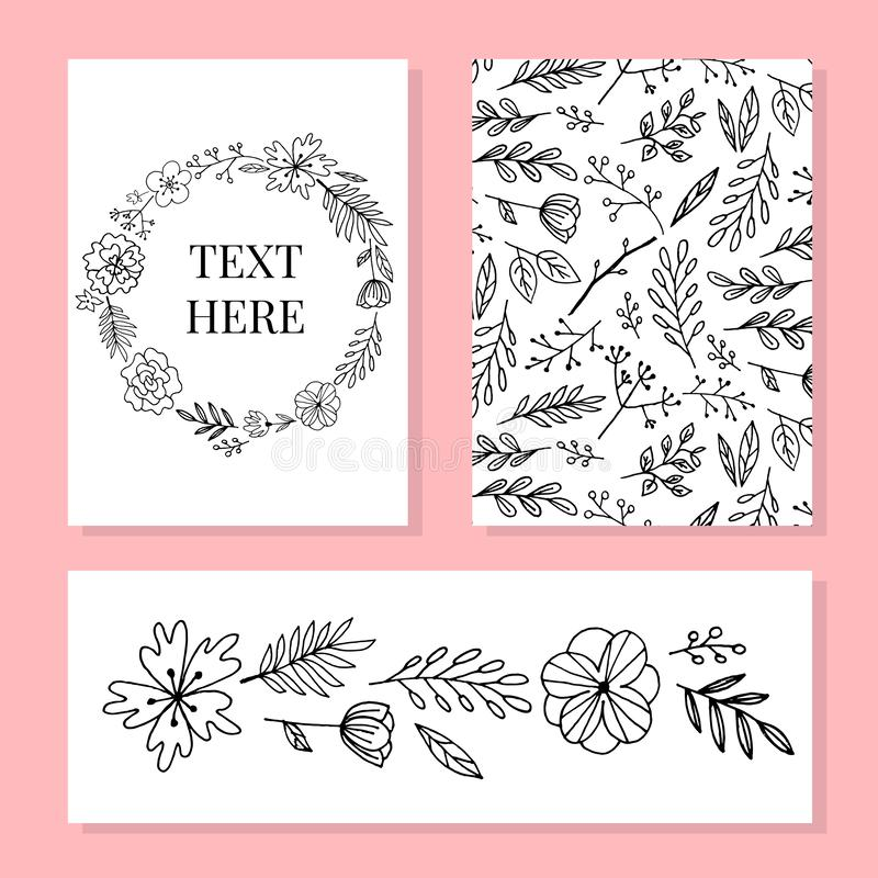 Botanic card with wild flowers, leaves. Spring ornament concept. Floral poster, invite. Vector layout decorative greeting card or. Invitation design background stock illustration