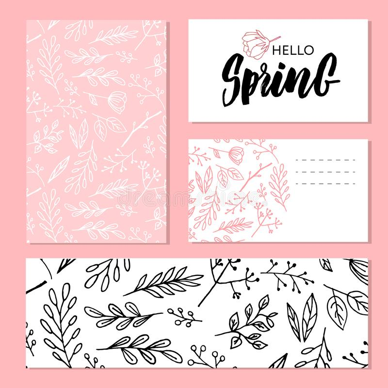 Botanic card with wild flowers, leaves. Spring ornament concept. Floral poster, invite. Vector layout decorative greeting card or. Invitation design background royalty free illustration