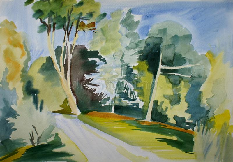 Download Botanic garden scene stock illustration. Image of pathway - 27504069