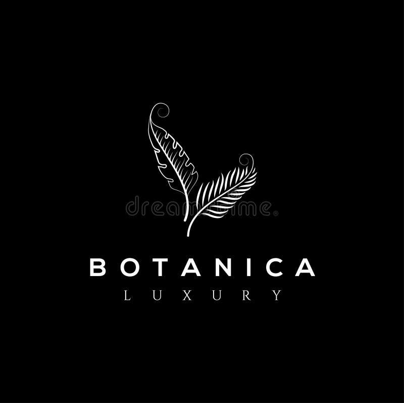 Botanic vector logo. Luxury letter monogram. Fashion brand identity. Golden Leaves Plant Logo design. Hotel or boutique emblem stock illustration