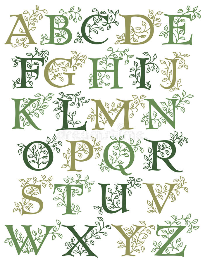 Botanical Alphabet/eps. Hand-drawn alphabet with leafy green vines entwined with capital letters...suitable for drop caps or monograms royalty free illustration