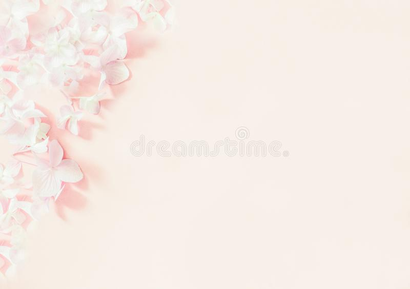 Botanical banner with soft pink lilac flowers. Romantic design for natural cosmetics, perfume, women products. Can be used as gree stock photos