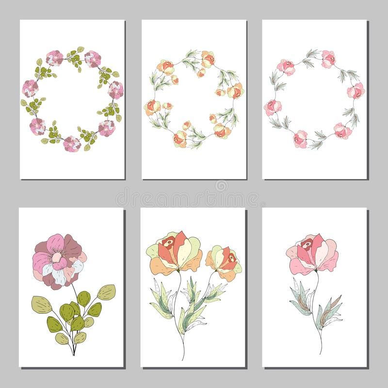 Botanical card with wild flowers and leaves. Spring ornament concept. Floral poster, invite. Vector layout decorative vector illustration