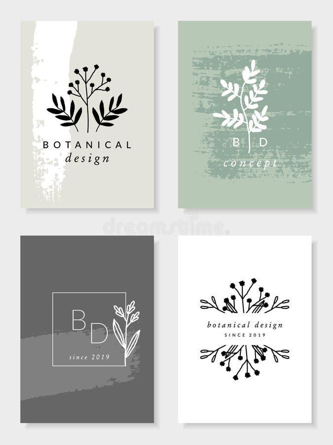 Elegant Botanical Design Card Templates royalty free illustration