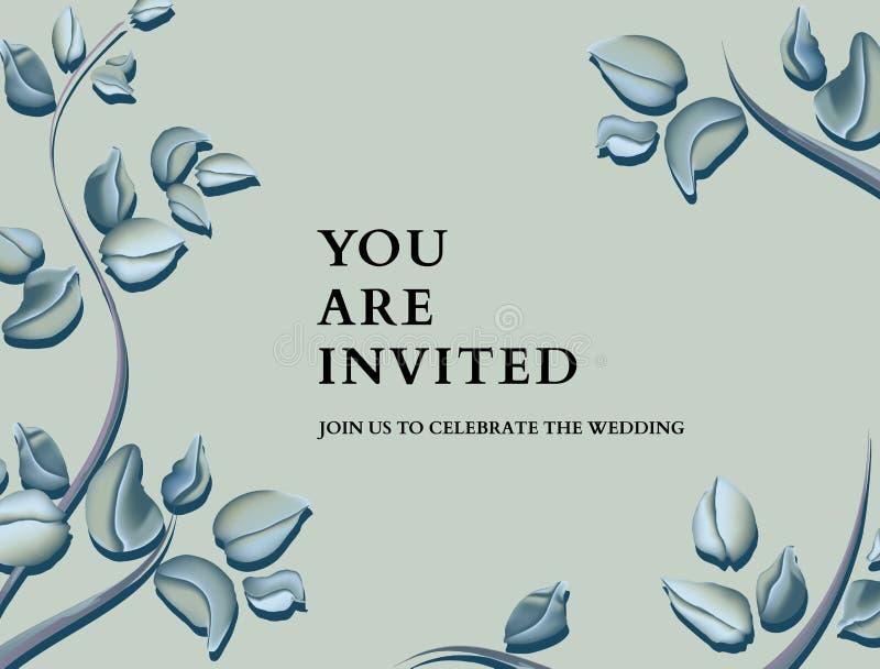 Botanical eucalyptus invitation card template design, green blue pastel  sleaves plant on tender background, minimalist vintage stock illustration